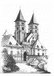 Basilika Echternach -Zeichnung von Vera Schlöder-Faber, Ferschweiler